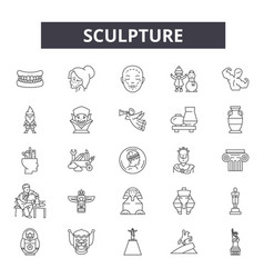 Sculpture line icons signs set linear vector