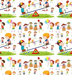 Seamless background with children playing vector image