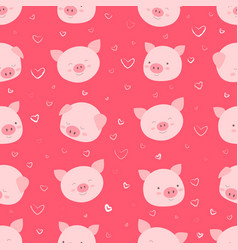 seamless pattern with happy funny faces pigs vector image