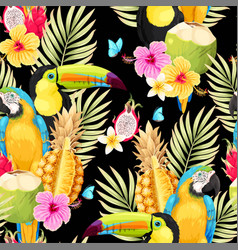 Seamless pattern with macaw and fruits vector