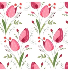 Seamless pattern with stylized cute red tulips vector image
