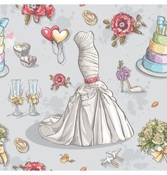 seamless texture with image wedding dresses vector image