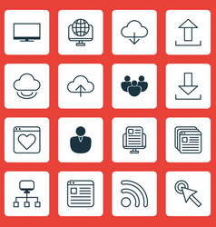 Set of 16 world wide web icons includes send data vector