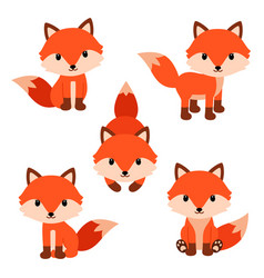 Set of cute cartoon foxes in modern simple flat vector