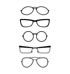 Set of glasses in black white vector