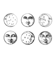 Set of moon crescent drawings in engraving style vector