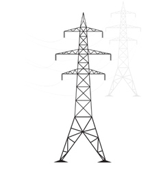 Silhouette high voltage power lines on a light vector image