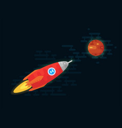 Space vehicle flies to the planet mars vector