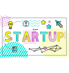 start up poster and icons set vector image