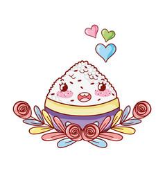 sushi kawaii cartoon vector image