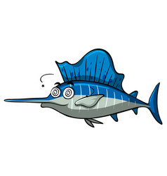 Swordfish with dizzy face vector