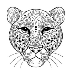 Tangle leopard coloring book page for adult vector