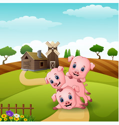 Three little pigs playing at farm vector