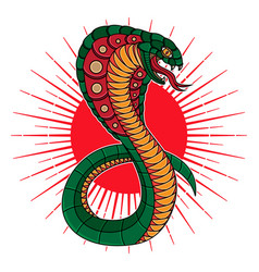 traditional snake cobra flash tattoo vector image