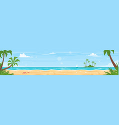 Tropical island sea shore vector