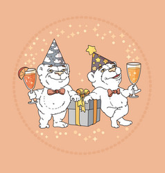two cute bears in party hats on rose background vector image