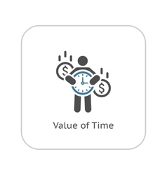 Value of Time Icon Flat Design vector image