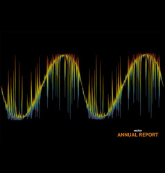 Wave annual report on black background 3d rainbow vector