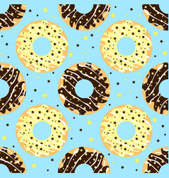 White and dark chocolate donuts with blue backdrop vector