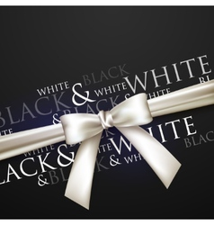 white bow on black background vector image vector image
