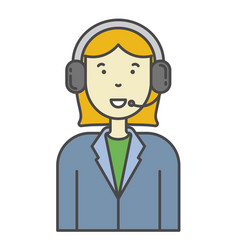 woman call center operator icon for vector image