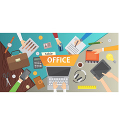 workplace office table work in a team modern vector image