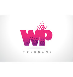 wp w p letter logo with pink purple color and vector image