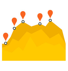 Yellow graph chart icon flat style vector