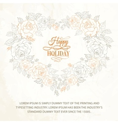 Beautiful vintage hearts frame from flowers roses vector image vector image