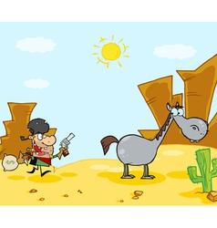 Cowboy Escapes To His Horse vector image