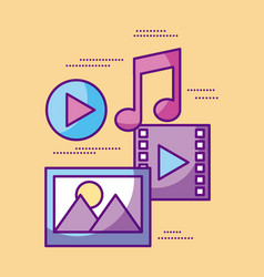 multimedia video music picture play desing vector image