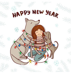 new year card with girl and dogs white background vector image vector image