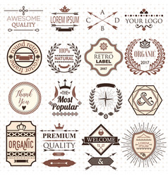 set of retro design labels and elements vector image vector image