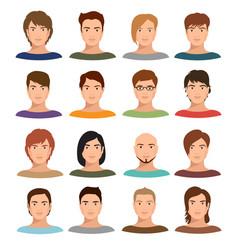young cartoon man portraits with various hairstyle vector image