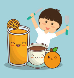 boy with juice chocolate and orange fruit vector image vector image
