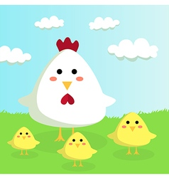 Chicken and chicks in Sunshiny Field vector image