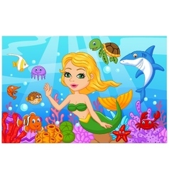 Cute mermaid cartoon with fish collection set vector image