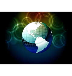 earth globe with bokeh background vector image vector image