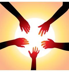 five hands around sun vector image vector image