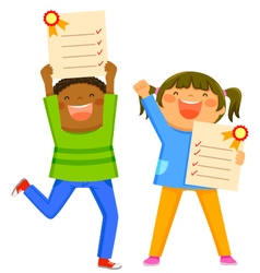 kids with report cards vector image vector image