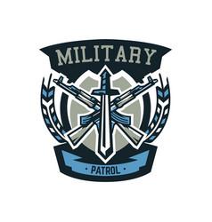 logo emblem military weapons machine guns vector image