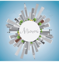 Miami Skyline with Gray Buildings Blue Sky vector image