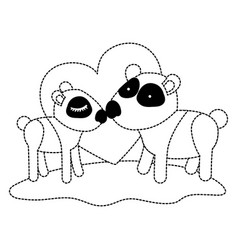 pandas couple over grass in black dotted contour vector image vector image