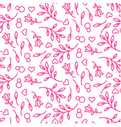 pink line floral 8 march seamless pattern vector image vector image