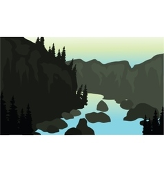 Silhouette of river and rock vector