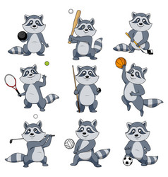 cartoon raccoon play sports mascot icons vector image vector image
