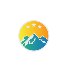 circle mountain rocky logo vector image