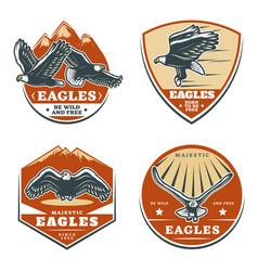 Colored vintage american eagles emblems set vector