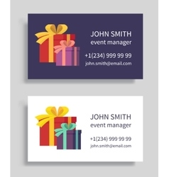 Event manager business card with gift boxes vector image vector image