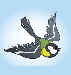 Flying titmouse cartoon vector